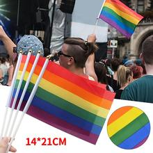 10PCS/Pack Gay Pride Flags Easy To Hold Mini Small Rainbow Flags With Flagpoles For Rainbow Pride Parade Festival