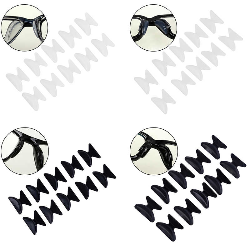 10pcs=5 Pairs/lot Useful Soft Non-slip Silicone Nose Pad For Glasses Eyeglasses Sunglass Black And White