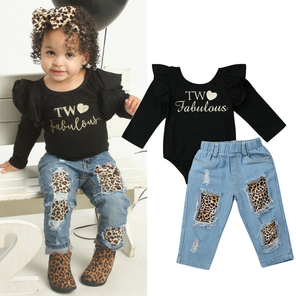 2PCS Toddler Baby Girl Solid Bow Long Sleeve Romper Tops Denim Pants Outfit Set