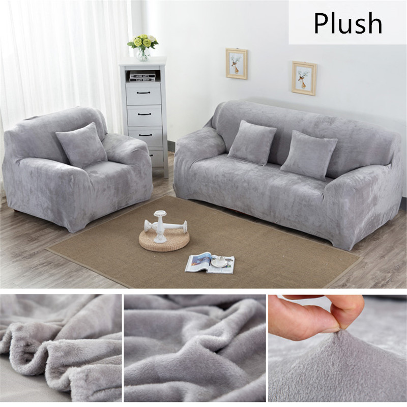 Solid Color Plush Thicken Elastic Sofa Cover Universal Sectional Slipcover 1/2/3/4 seater Stretch Couch Cover for Living Room title=