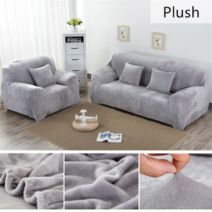 Solid Color Plush Thicken Elastic Sofa Cover Universal Sectional Slipcover 1/2/3/4 seater Stretch Couch Cover for Living Room(China)
