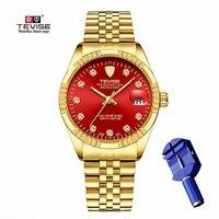 Tevise ouro relógio automático masculino relógios mecânicos de luxo à prova dwaterproof água casual aço inoxidável relógio de pulso dos homens relogio masculino