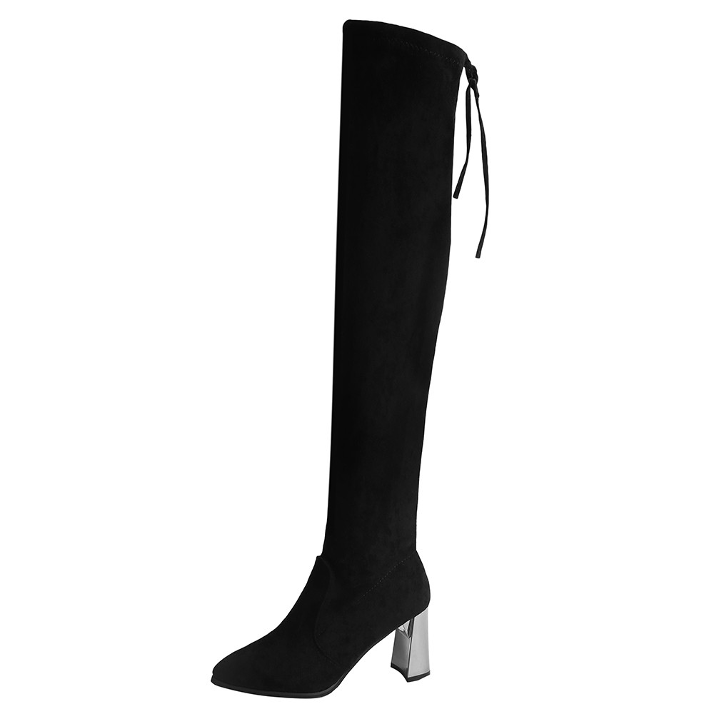 Shoes Winter Boot High-Heels Pointed-Toe Over-The-Knee Thin Warm Female Sexy Big-Size