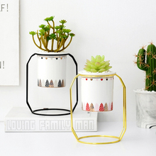Creative Fleshy Flower Pot Nordic Style Geometric Iron Rack Holder Metal Stand With Ceramic Planter Desktop Garden For Decor