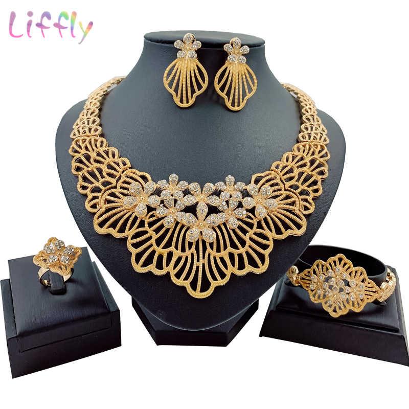 דובאי תכשיטי סטי קריסטל שרשרת קלאסי צמיד עגילי טבעת אפריקאי קסם נשים תכשיטים תכשיטי מסיבת חתונה