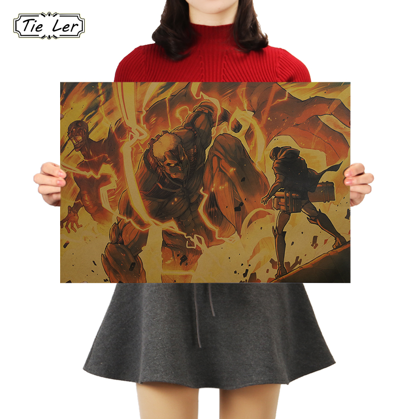 Gravata ler nova série anime clássico ataque em titã cartazes retro papel kraft cartaz bar cafe arte da parede adesivo pintura 50.5x35cm