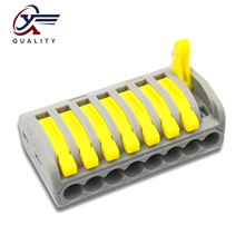 30/50/100 PCS/lot PCT-218 yellow/ 222-218 mini fast wire Connectors Universal Compact Wiring Connector push-in Terminal Block