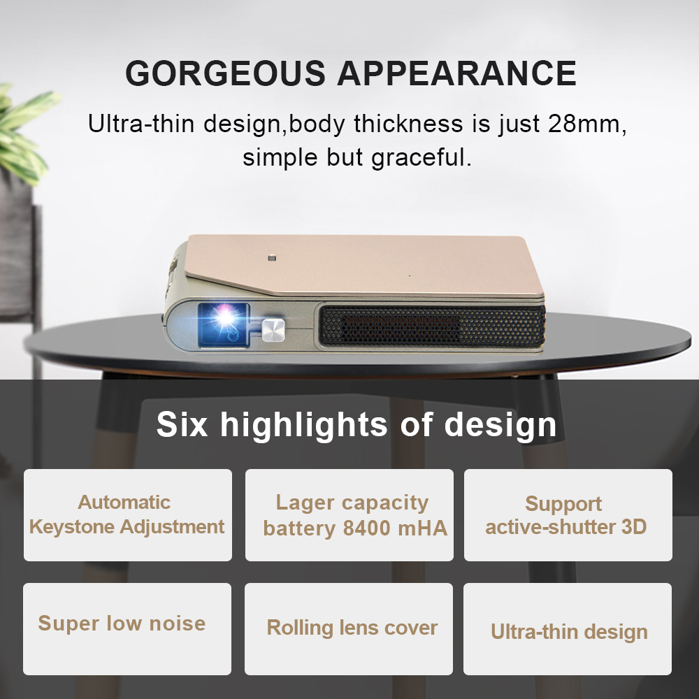 Image 2 - CAIWEI S7+ Mini Portable DLP Projector 3D Cinema Home Theater Outdoor Video Movie for Smartphone Data Show Beamer Large BattryLCD Projectors   -