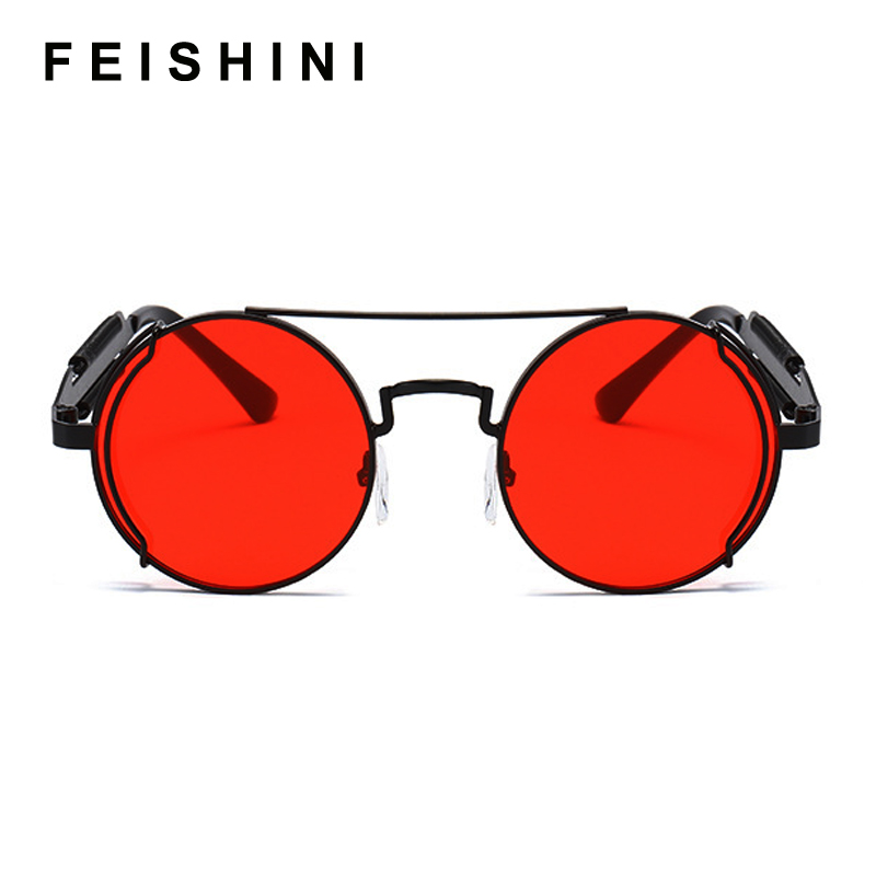 FEISHIN 2020 Metal Steampunk Sunglasses Women Round Retro Fashion Mirror Glasses Brand Designer Frame Vintage Sunglasses Men Red