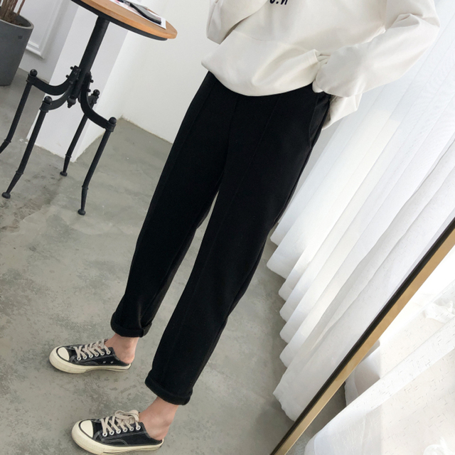 Warm Thicken Winter Women Suit Pants Elastic Waist Women Pencil Pants Plus Size Office Ladies Long Pants Elegant Women Trousers 3