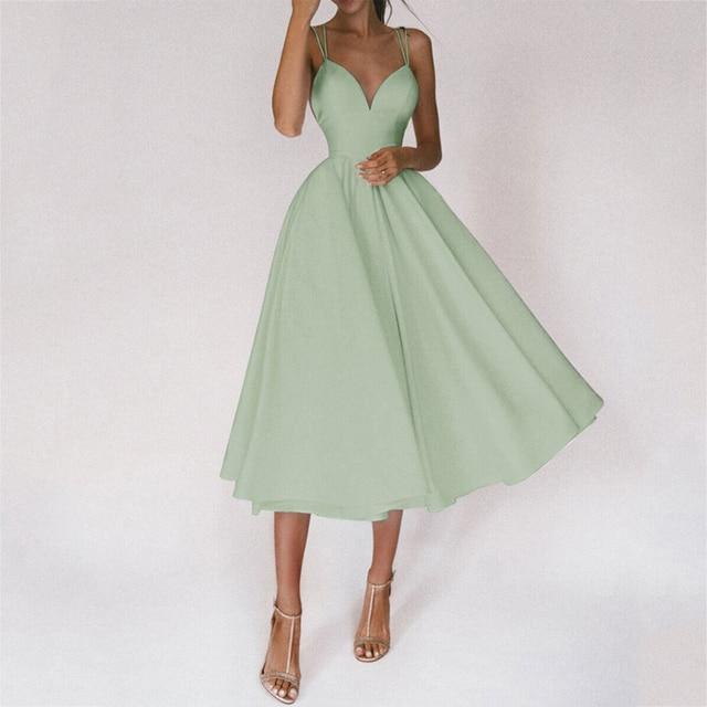 Tromlfz 2021 Women Sexy Ball Gown Prom Dresses New Lady Solid V Neck Backless Party Slip Casual Summer Elegant Slim Vestido 3