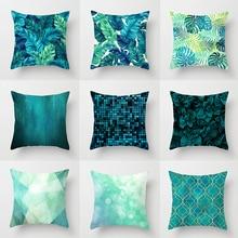 Pillow case 45*45CM Teal Blue Geometric Printed Polyester Pillowcase Home Sofa Pillow Cushion Cover Decorative Pillowcase brief marble geometric sofa decorative cushion pillow pillowcase polyester 45 45 throw pillow home decor cushion