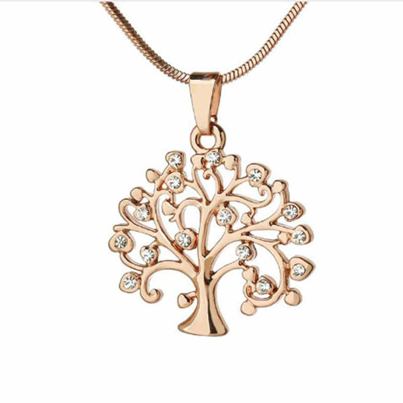 Stylish Simplicity Hollow Life Tree Pendant Necklace Gold and silver uncle clothes chain Women's necklace Metal jewelry