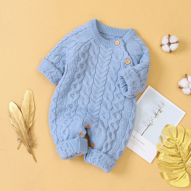 Infant Clothing Autumn Winter Baby Romper Children Knitted Jumpsuit Newborn Baby Boys Girls Clothes For Baby Overalls 0-3 Years