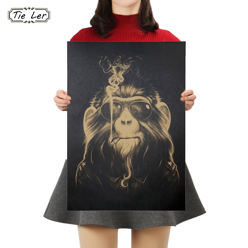 TIE LER Smoked Orangutan Collection Poster Cafe Bars Kitchen Decor Posters Adornment Vintage Poster Retro Wall Stickers