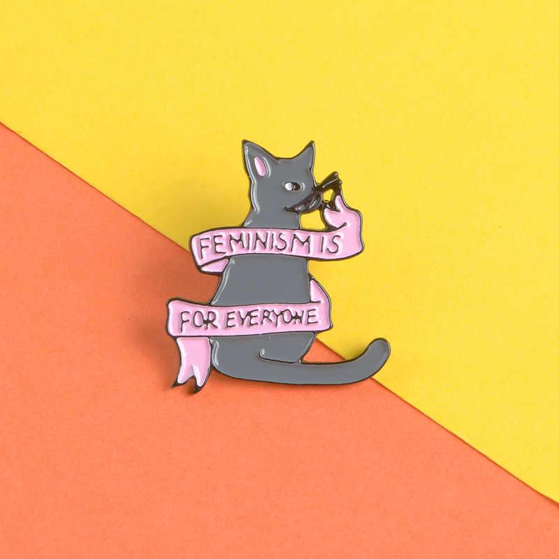 Pita Merah Muda Abu-abu Kucing Logam Enamel Bros Fashion Kepribadian Masker Kacamata Wanita Pin Lencana Pesona Trendi Kostum Ransel Perhiasan