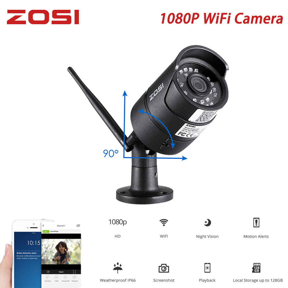 ZOSI 1080P Wireless Surveillance Camera Onvif 2MP Mobile Outdoor Indoor WiFi IP Camera IR Night Vision Waterproof Motion Alarm