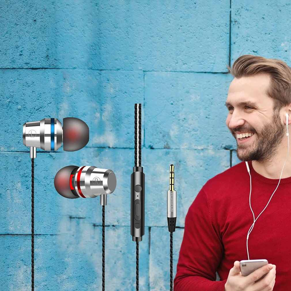 Metallo Auricolari In-Ear Auricolare di Controllo del Filo di Controllo Remoto Con Il Grano Per Apple Android Smartphone Auricolare Universale