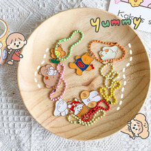 Cartoon Keychain Korea Cute Pendant Student Ornaments Wind-Bag Kawaii-Supplies Metal