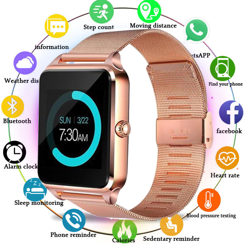 GT08 Plus Smart Watch Men Z60 Metal Clock With Sim Card Slot Push Message Bluetooth Connectivity Android IOS Smartwatch PK A1