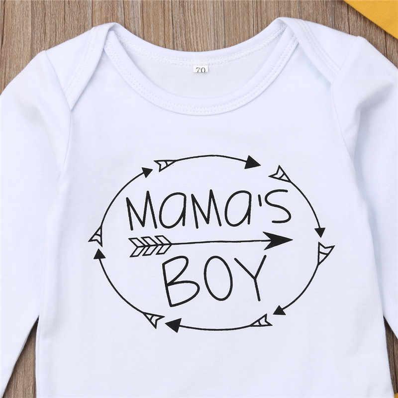 3pcs ทารกแรกเกิดชุดเด็กทารกชุด Mama 'S Boy Letter บอดี้สูทเด็ก Rompers กางเกงยาวลายหมวกเด็กทารกชุดเด็กชุด