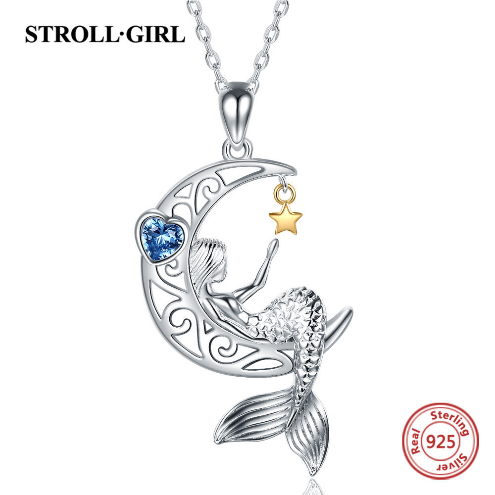 Strollgirl New 925 Sterling silver beautiful Mermaid pendant chain zircon moon star necklace for Women Fashion Jewelry free ship(China)