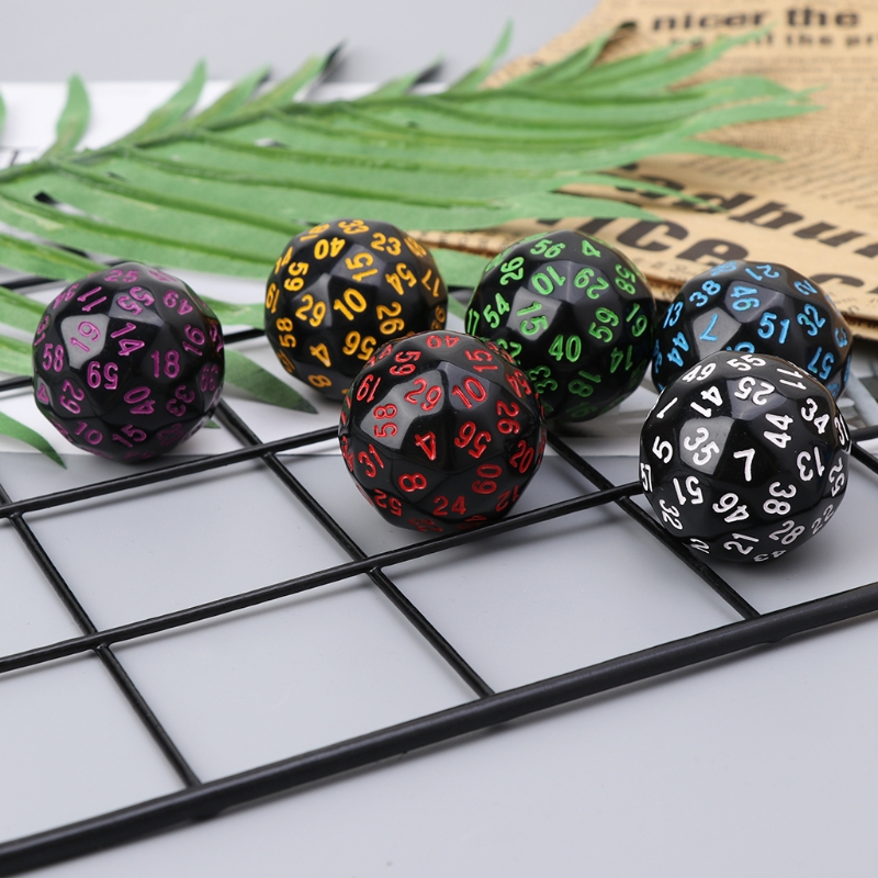 6Pcs 60 Sided <font><b>D60</b></font> Polyhedral <font><b>Dice</b></font> For Casino D&D RPG MTG Party Table Board Game image