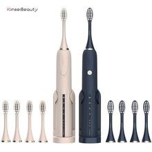 Cepillo de dientes eléctrico recargable por USB, cepillo de dientes sónico, resistente al agua IPX7 con 4 cabezales