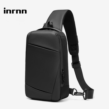 inrnn USB Charging Chest Bags for Men Waterproof Messenger Bags Male Short Trip Sling Shoulder Bag High Quality Men's Chest Pack