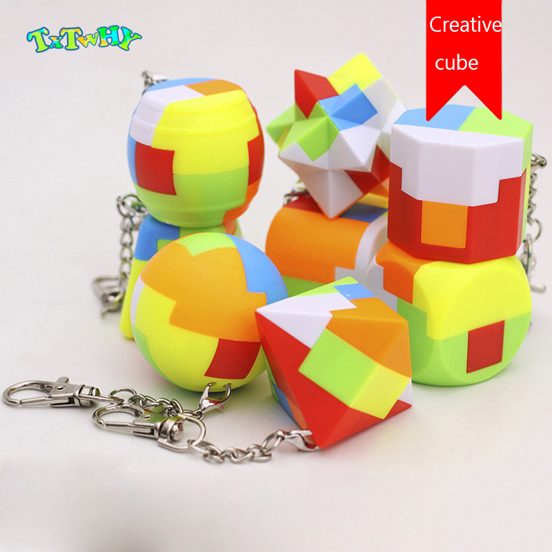Mini Keychain Magic Cube Trihedron Cylinder Speed Cube Puzzle Building Block Keychain Combination Educational Toys For Children