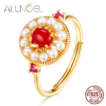 ALLNOEL Solid 925 Sterling Silver Rings For Women Red  Coral Gemstone Vintage Pearl Designer Fine Jewlery 9K Gold Plated Gift