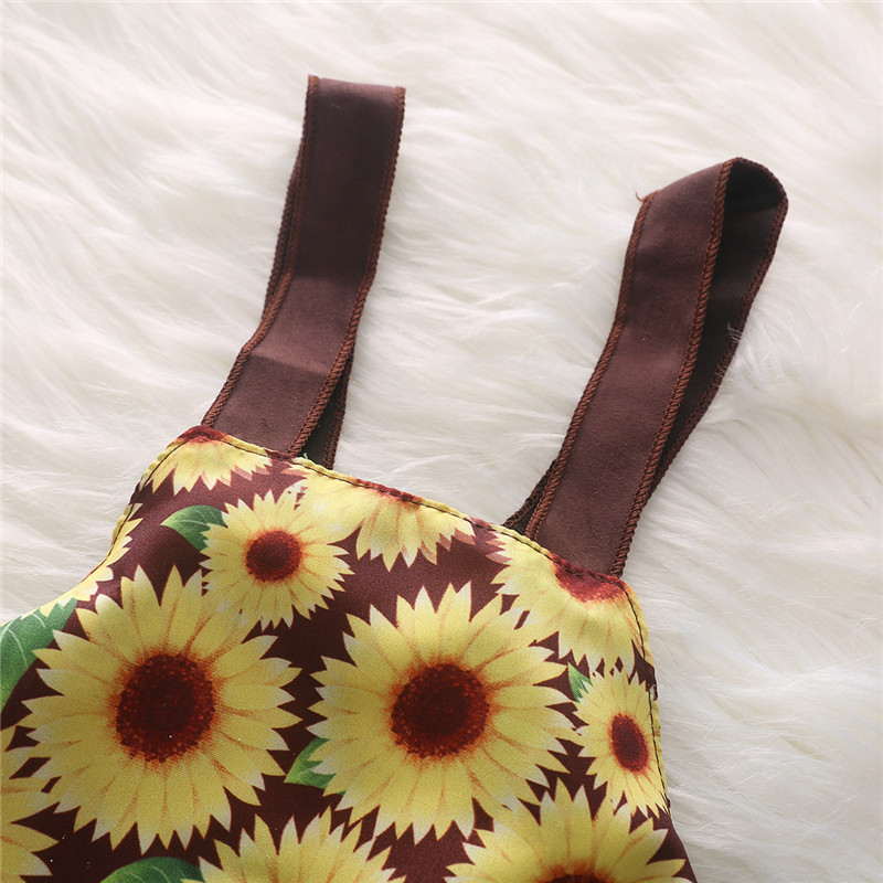 0 3Y 2pcs sunflower babies clothes for baby girl clothes set halter neck crop top short skirt set infant girl clothing in Clothing Sets from Mother Kids