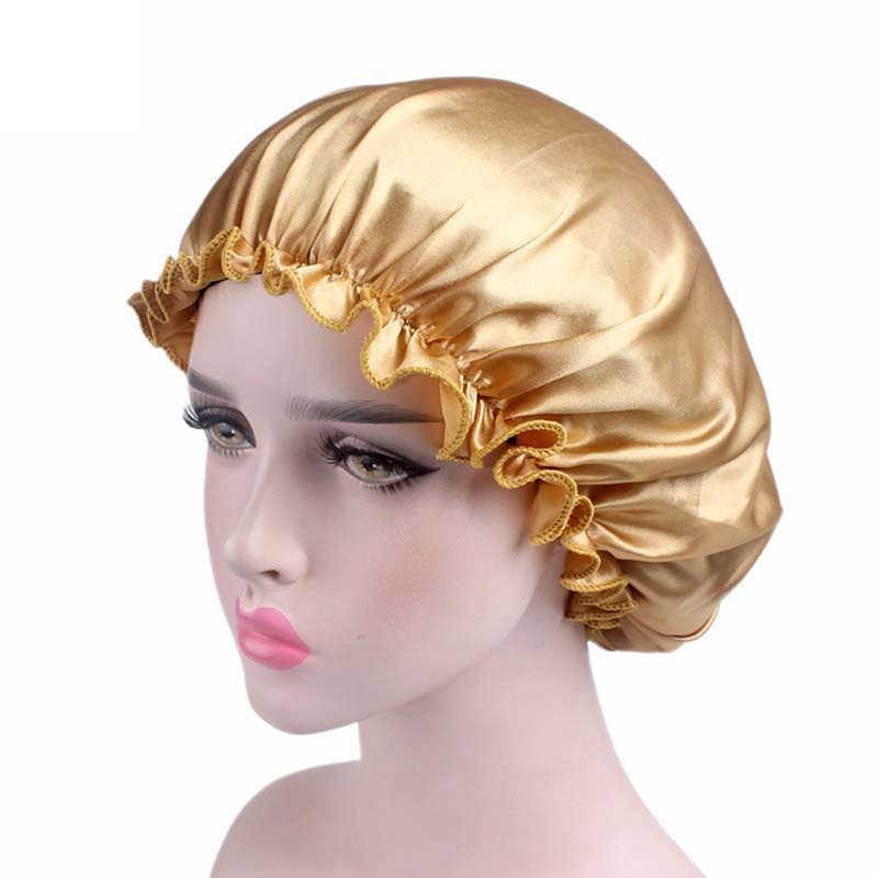 Cheveux Satin Bonnet pour dormir Bonnet de douche Bonnet en soie Bonnet Femme Femme nuit sommeil casquette couvre-tête fleur bandeau élastique