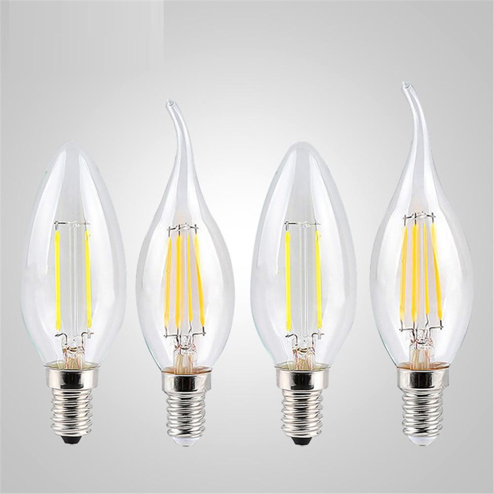 LED Filament Candle Light Bulb E14 220V 240V 4W 8W 12W C35/C35L Vintage Edison Bulb For Chandelier Cold/Warm White Light
