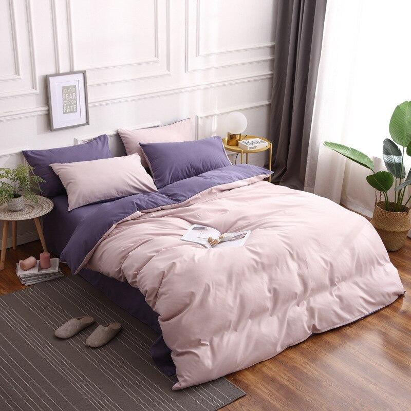 4 pièces/ensemble couleur correspondant style simple ensemble de literie doublures de lit housse de couette drap d'oreiller taies d'oreiller ensemble de couverture