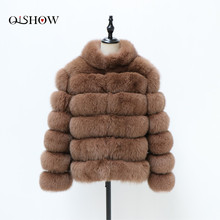 Jacket Coat Stand-Collar Real-Fox-Fur Winter Women Short Natural The-Stripes Fashion