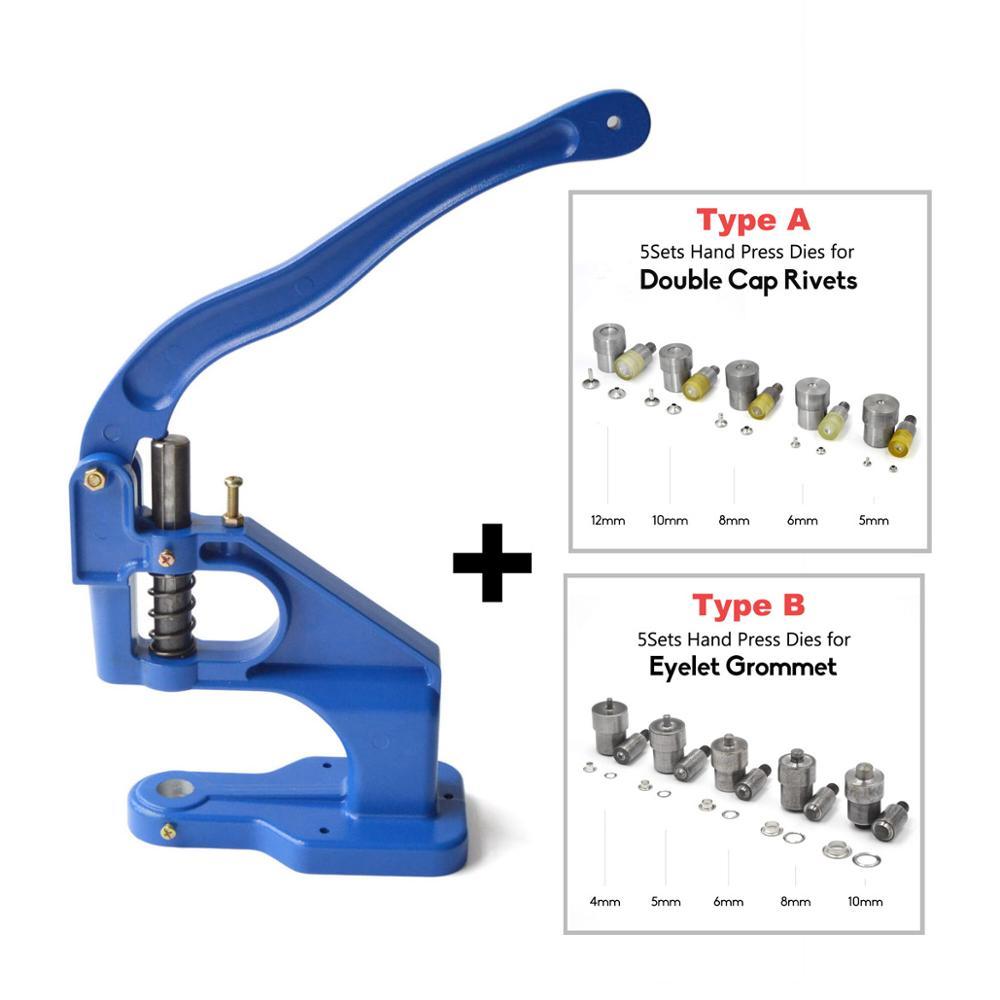 Kalaso mão imprensa ferramenta máquina para ilhós grommet dados ou dupla tampa rebites dados molde ferramenta artesanato diy suprimentos
