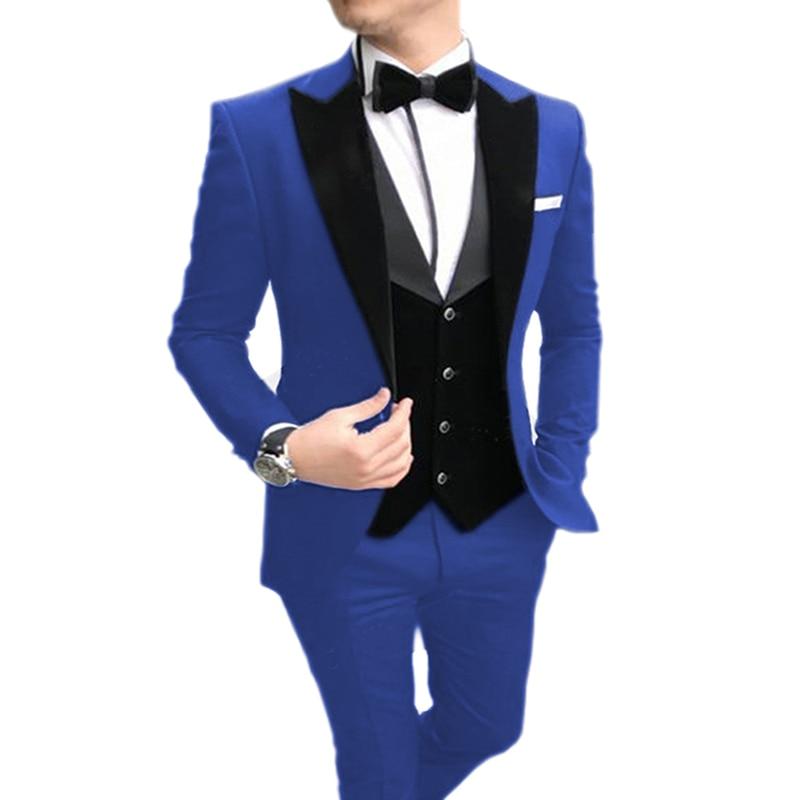 2020 Men's Suit 3 Pieces Casual Slim Fit Black Notch Lapel Vest Best Man Tuxedos For Wedding Party Suits(Blazer+vest+Pants)