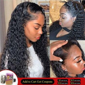 Волнистые парик 360 кружевных фронтальных париков для Для женщин влажные и волнистые синтетические волосы на кружеве парик человеческих вол...
