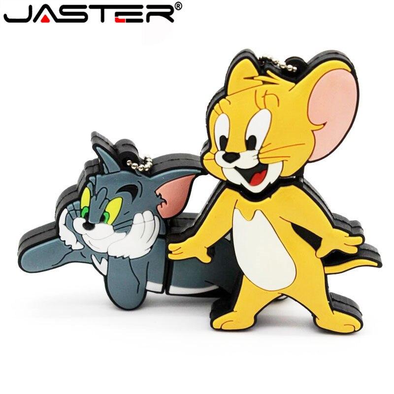 JASTER Cartoon 64GB Cute Cat And Mouse USB Flash Drive 4GB 8GB 16GB 32GB Pendrive USB 2.0 Usb Stick