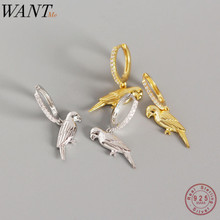 WANTME Cute Sweet Animal Jewelry Drop Parrot Studs Earrings for Women Genuine 10
