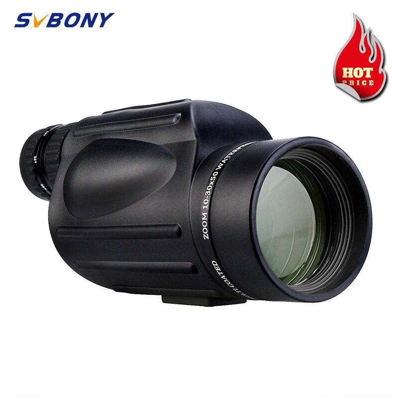 SVBONY 10-30X50 зум монокулярный телескоп Водонепроницаемый призма с многослойным покрытием объектив с низким ночным видением для пеших прогулок...