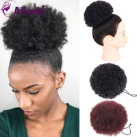 AILIADE 8Inch Afro Hair Bun Synthetic Ponytails Hair Extensions Curly Donut Drawstring Chignon Clip In Bun Hairpiece For Women