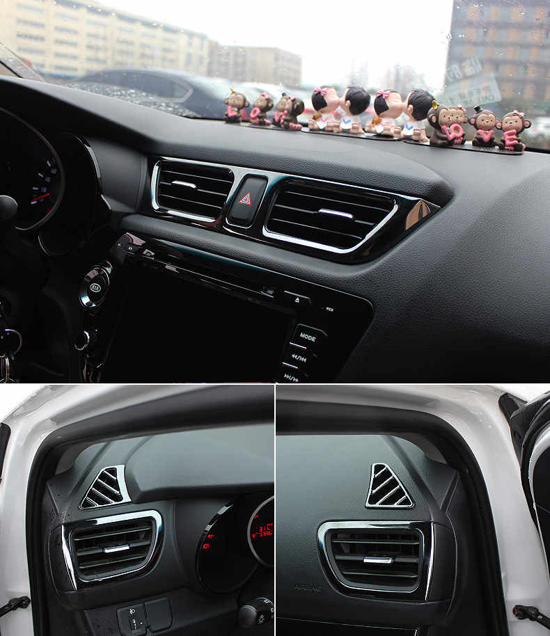 5 Stks/set Auto Styling, auto Air Vent Cover Trim Decoratie Frame Fit Voor Kia Rio 3 K2 2011-2014 2015 2016car Accessoires