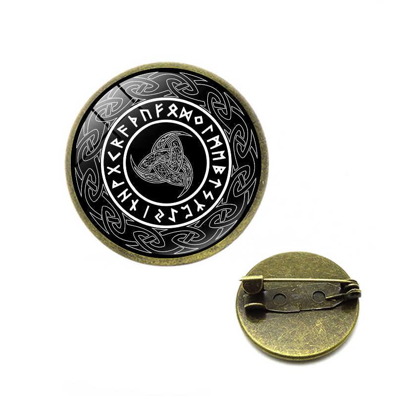 Dell'annata di modo Corno Triplo di Odin Spille Vichingo Amuleto Talismano Rotonda Cupola di Vetro Spilli Gioielli Alla Moda