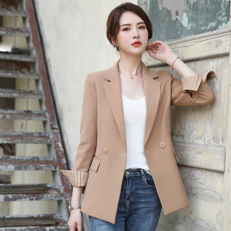 Women's Jacket 2019 Autumn New Loose Temperament Casual Fashion Wild Double-breasted Small Suit Women's Shirt