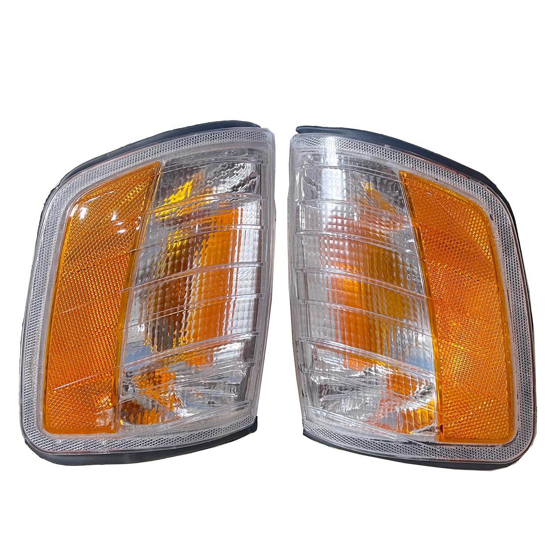 Левый и правый пара угловой светильник для Mercedes Benz E Class W124 передний указатель поворота угловой светильник оранжевый 1985-1996