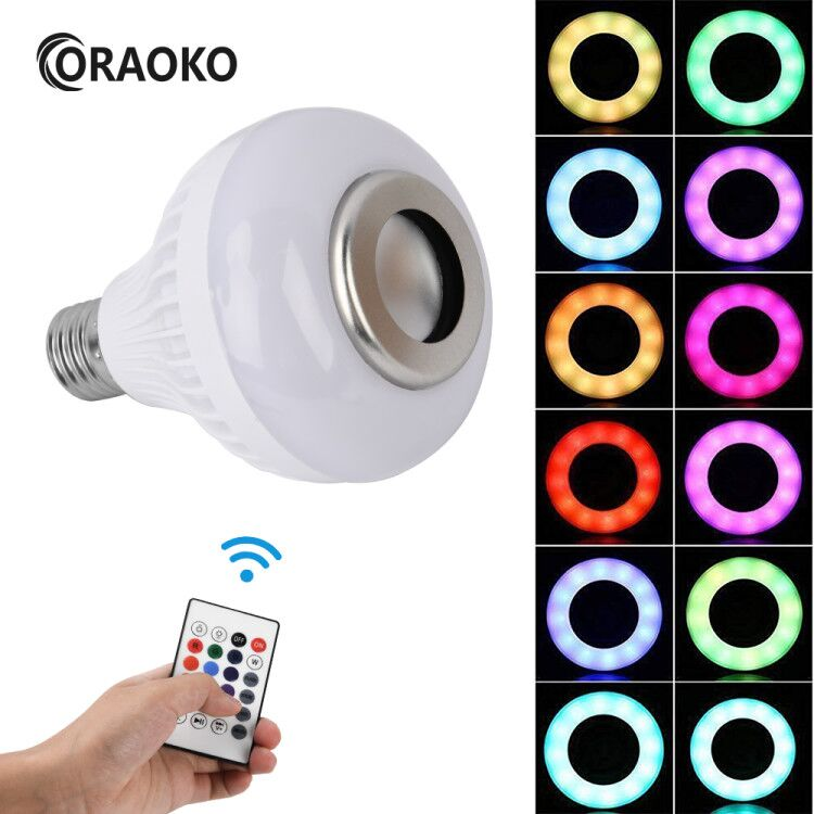 12W LED Bulb Smart E27 RGB Light Wireless Bluetooth Audio <font><b>Speaker</b></font> Music Playing Dimmable Lamp with 24 Key Remote Control image