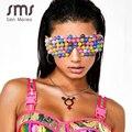 Mode Bunte Steampunk Sonnenbrille Frauen 2020 Trend Phantasie Perle Übergroßen Goggle Gläser Weiblichen Brillen Vintage Shades oculos
