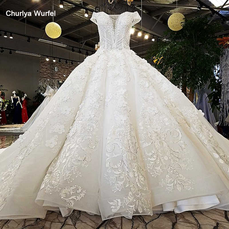 LS74232 vestido de noiva 2019 ivory and champagne off shoulder sweetheart ball gown lace up wedding dresses with long train